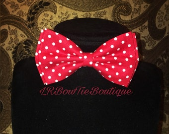 Custom red & white polka bow tie with adjustable neck strap