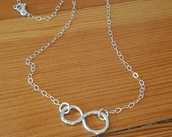 Sterling Silver, Hand forged, Infinity Symbol Necklace