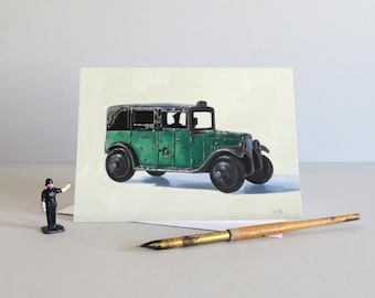 Dinky Taxi card, Dinky Taxi, London Taxi, Vintage london Taxi, Dinky toys, Toy taxi, Vintage toys, Greetings card – VINTAGE TOY VEHICLES