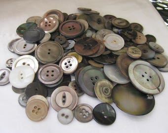 7.2 oz. Vintage Dark Smoky Mother of Pearl Buttons