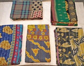 Kantha Set of 5 Quilts, boho quilt set, Kantha throw set
