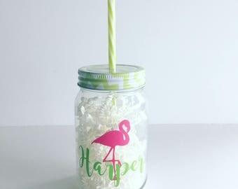 Personalized Flamingo Glass Tumbler - Mason Jar - Bachelorette Cup - Sorority - Beach Cup - Pool