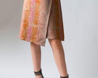 Women's skirt, Baroque tapestry fabric, asymmetrical wrap skirt, ladies A-line skirt, Baroque skirt, women's fashion, skirt, wrap skirt