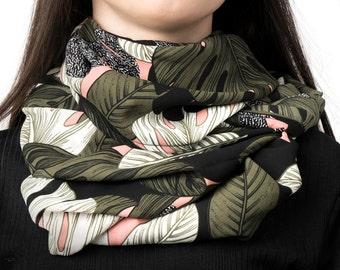 Infinity scarf, tube scarf, snood, loop scarf, leaves, leaf print, jungle print, women's tube scarf, khaki green, pink, ladies snood scarf