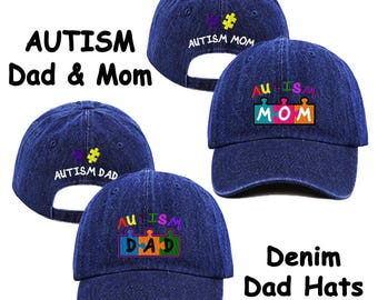 Autism Dad & Mom Embroidered Blue Jean Baseball Cap/Hat, Spectrum, Awareness, Autistic, Support, Au-Some