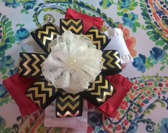 Red, White, Black, Gold and Lace Flower Bow on a Barrette