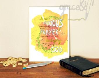 Bible verse A4 print. Philippians 4:6