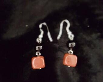 Onyx and Carnelian Dangle earrings