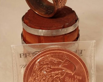 Copper round eagle ring