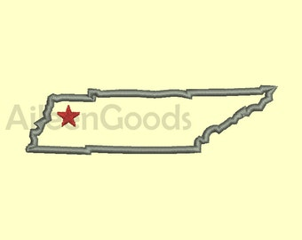 Tennessee Applique Design 7 Tennessee State Shape AppliqueSize -INSTANT download machine embroidery