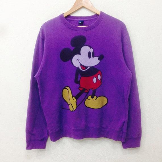 Rare!! Vintage MICKEY MOUSE Sweatshirt Big Logo Crewneck Purple Colour Large Size