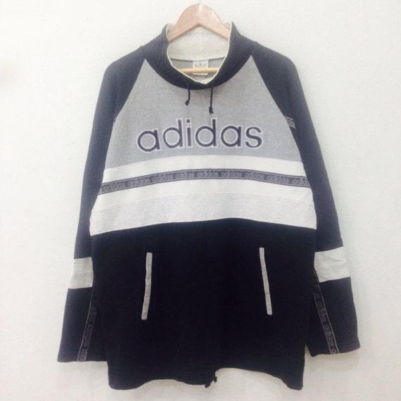 Rare!! Vintage ADIDAS 90s Sweatshirt  Big Logo Half Zipper Hiphop Swag