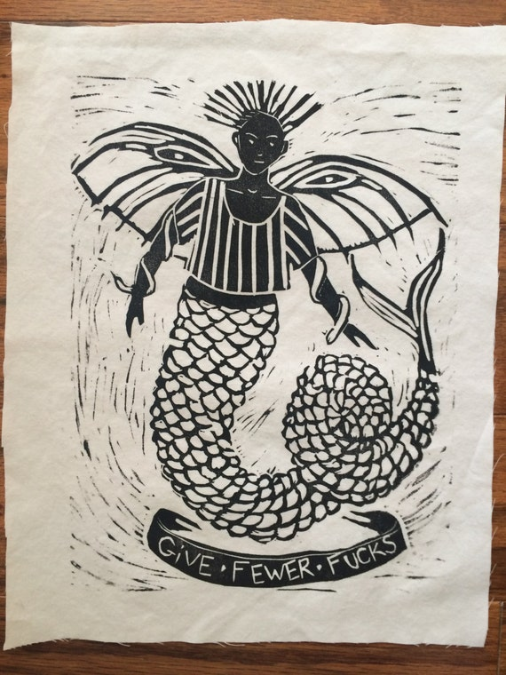 Give Fewer Fucks mermaid patch