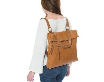 Brown leather convertible backpack,women backpack,leather rucksack,school backpack,camel backpack,laptop backpack,convertible shoulder bag