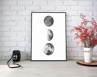 3 Moon Print Black and White Print Bedroom Picture