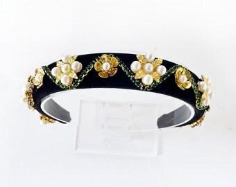 womens headbands, black velvet headband, black headpiece, luxury statement headband, emerald green, evening headwear, headbands for women