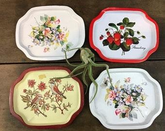 Set of Tiny Trays - Vintage Floral Fruit Birds
