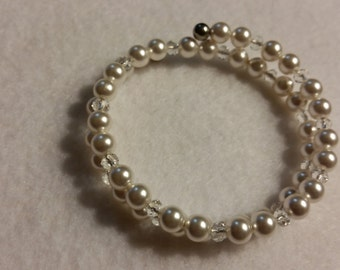Double wrap Swarovski pearls and crystal.