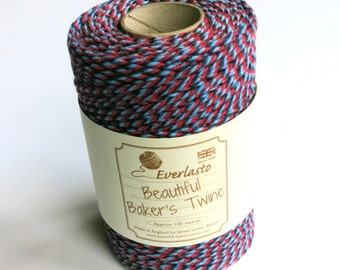 Red, Navy & Sky Bakers Twine  (Everlasto) - Multicoloured Twine, Craft twine, Christmas twine, craft twine, gift wrap twine