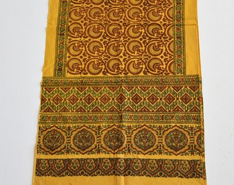 Handmade Cotton Scarf / Hand Block Printed, Yellow, Red, Black, Green color fashion scarf/gift