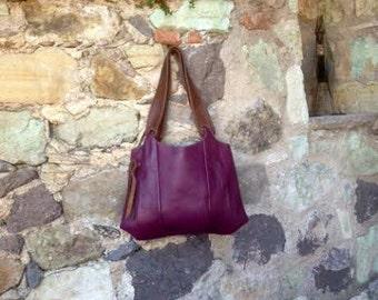 Purple Hobo Leather Bag