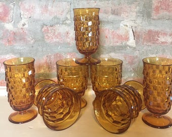 Amber Indiana Juice Glass Assortment // Indiana Glass Juice and Water Glasses // 1970's // Set of 7