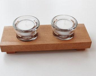 Wooden Tea Light Stand. Glass Tea Light Holder. Wood and Glass Tea Light Candle Holder. Handmade in Beech.