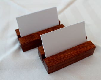 Business Card Stand. Business Card Holder. Business Card Display. Handmade in Sapele or Oak Hardwood.