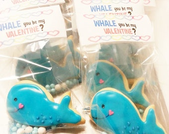 Valentine's Cookie Treat - Whale Cookies - Valentine's Day Cookies - Packaged Cookies - Teacher Cookie Treat