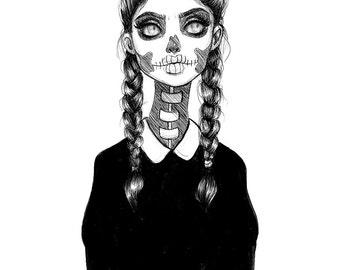 Skull Girl Print