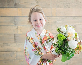Floral Bridal Robe // Flower Girl Robe // Satin Robes // Bridesmaid Robes // Bridal Robe // Robe //Bride Robe // Bridal Party Robes