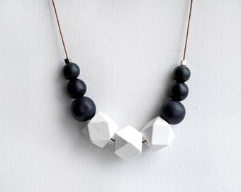 Geometric Necklace, Boho necklace, Statement Necklace, Bohemian Jewelry, Handmade necklace, Wooden necklace navy blue white hexagon