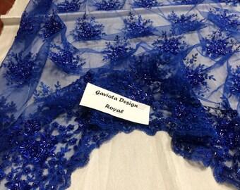Super bridal wedding gaviota heavy beaded small flower mesh royal blue. Sold by the yard.