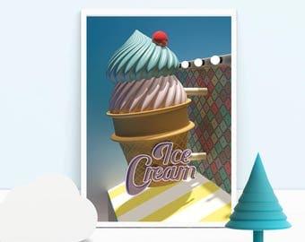 ice cream illustration, ice cream retro illustration, instant download, retro Illustration, ice cream Print, Digital Download, retro art