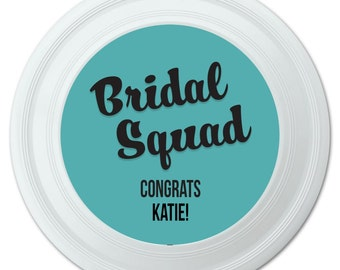 Bridal Squad Wedding Marriage Bachelorette Black Teal Personalized Flying Disc