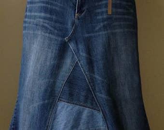 Upcycled Denim - Long Jean Skirt - Size 21/22