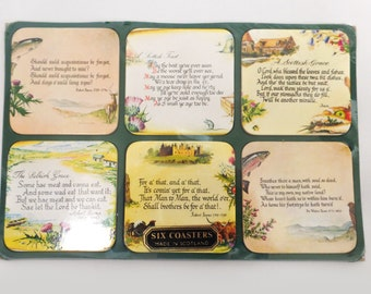 Vintage Scottish drink coasters, vintage art coasters, Scottish poetry, grace, toast, retro drink coasters, new sealed, six coaster set