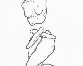 Art Print. Drawing by Megan Auður. Empty.