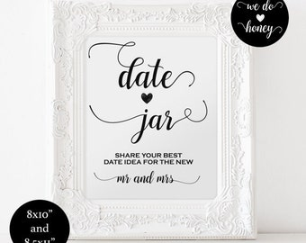 Date jar sign - Date jar printable - DIY wedding -  Date jar sign  printable - Downloadable wedding sign #WDH0076