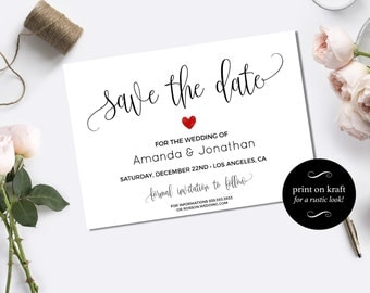 Save the date template fall wedding kraft save the date save the date template save the date printable wedding save the date template pronofoot35fo Images