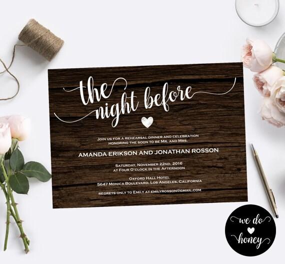 Pre Wedding Dinner Invitation: The Night Before Wedding Invitations
