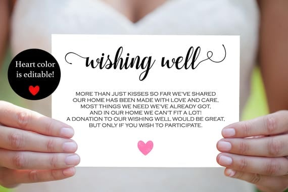 Wishing well bridal shower printable