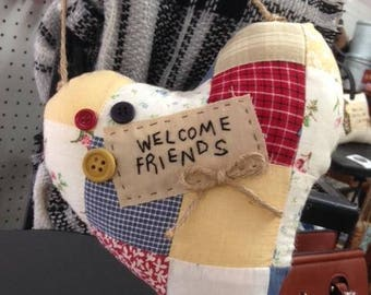 Welcome Friends quilted heart pillow