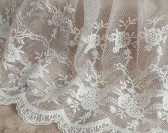 White 3 Yards Retro Floral Embroidered Mesh Lace Fabric Cotton Lace Trim