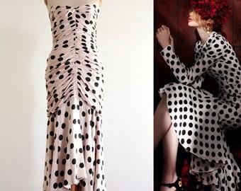1980s Polka Dot Long Dress, Victor Edelstein Strapless Pink Black Polka Dots Long Dress, Victor Edelstein Evening Dress Size US 0 2 XS