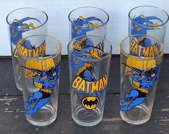 Batman DC Comics Pepsi Collector Series Glasses circa 1966 - Set of 6