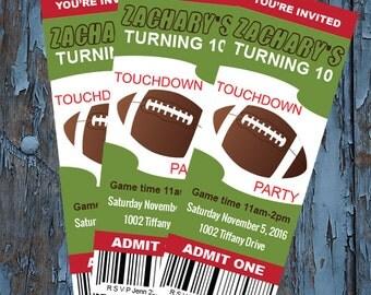 football ticket invitations,Football Party Invitation,Football Birthday Invitation,Football Invitation, Invitation,touchdown n football
