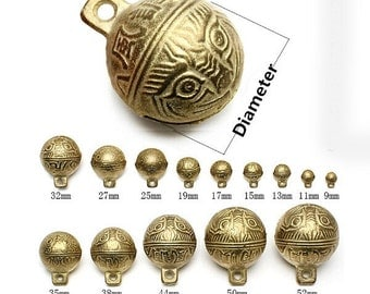 10pcs-Lovely brass bells Dia.9mm to 53mm,10pcs lot,Copper Chinese characters-Sui Sui Ping An windbells,best offer ET1909