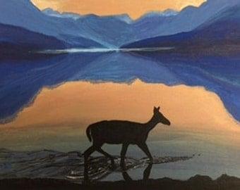Deer reflection at Sunset