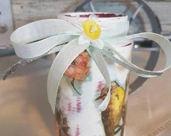 Jar centrepiece vintage rustic vase apothecary wedding decoupage birds